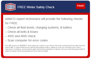 image - coupon for free winter safety check at AAMCO Minnesota participating locations