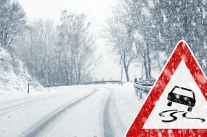 imge - icy, slick, snow-packed country road with icy road warning sign