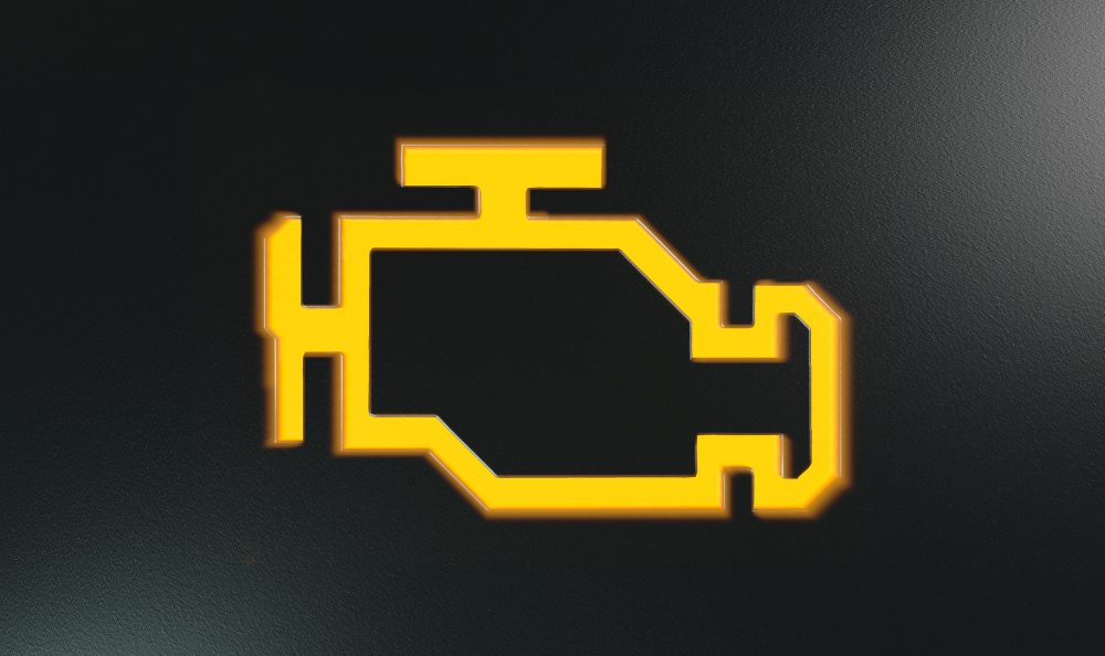 image of yellow check engine light icon that you see on your dashboard when something in the engine needs to be checked.