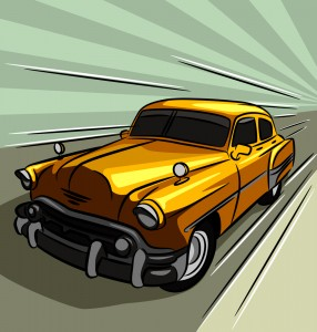 Vector drawing yellow classic car moving fast.