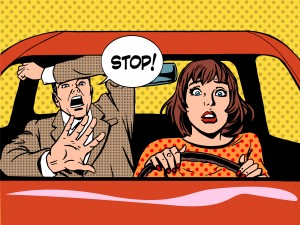 image - illustration comic of woman driver driving school instructor panic - retro style pop art.