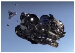 image - screenshot - still of transmission in midair coming apart into 800 pieces