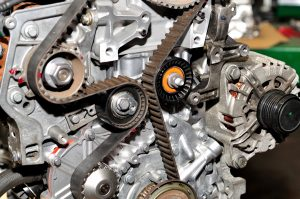 image of engine with serpentine belt