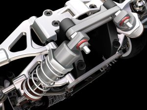 image of 3D render of a car suspension