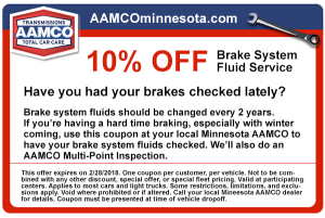 image of coupon for 10% off brake system fluid service