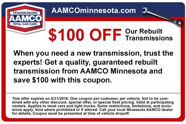 coupon $100 rebuilt transmission